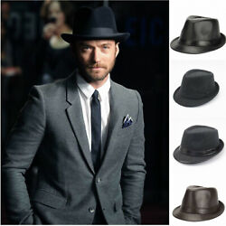 Men#x27;s Beach Classic Trilby Short Brim 100% Wool Gangster Fedora Hat with Band $10.50