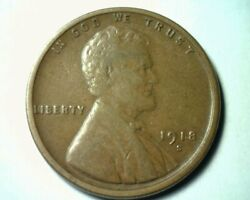 1918-s Lincoln Cent Penny Au About Uncirculated Nice Original Coin Bobs Coins