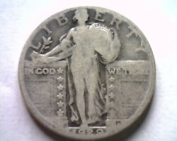 1929 Standing Liberty Quarter About Good/ Good Ag/g Clashed Die Obverse Original