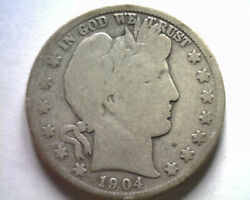 1904-s Barber Half Dollar Good G Nice Original Coin From Bobs Coins Fast Ship