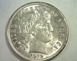 1912 Barber Dime Choice About Uncirculated+ Ch Au+ Nice Original Coin Bobs Coins