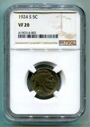 1924-s Buffalo Nickel Ngc Vf 20 Nice Original Coin From Bobs Coins Fast Shipment