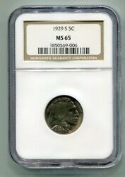 1929-s Buffalo Nickel Ngc Ms 65 Nice Original Coin From Bobs Coins Fast Ship