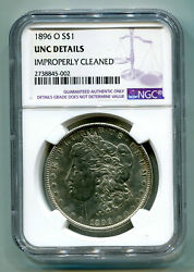 1896-o Morgan Silver Dollar Ngc Unc Detail Improperly Cleaned Nice Looking Coin