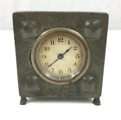 Antique Arts And Crafts Pewter Hammered Effect Table Clock Working 10.5cm High