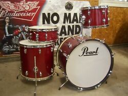 Vintage 1968 Pearl Sparkling Red Thunder King 4 Pc. Drum Set 22,16,13 And 14 Japan