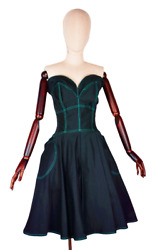 70's Vnt Thierry Mugler Cotton Flared Bustier Strapless Collectors Dress Us4-6