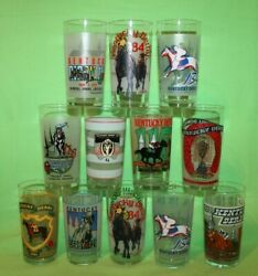 12 Kentucky Derby Official Drinking Glasses 1980's, 1990's, 2000's