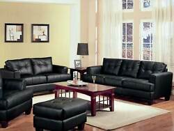 Modern Living Room 2 Pieces Couch Set - Black Bonded Leather Sofa Loveseat Ig7k