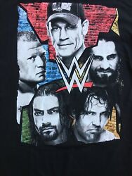 WWE Medium Black Short Sleeve Cotton CENA LESNAR REIGNS AMBROSE Rollins T Shirt
