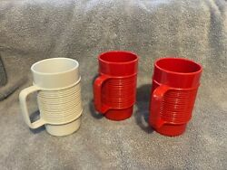 Rubbermaid Cups Lot Of 3 - 3829 White Red Melamine Melmac