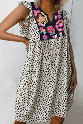 NEW WHITE BLACK DALMATIAN PRINT FLORAL EMBROIDERED DRESS SIZE S M L XL $29.98