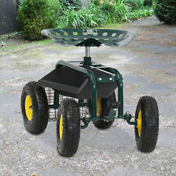Rolling Work Seat Garden Cart With Tool Tray Heavy Duty Gardening Planting Green