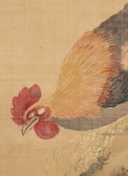 Japanese Painting Hanging Scroll Japan Chicken Hen Antique Old Art Picture E070
