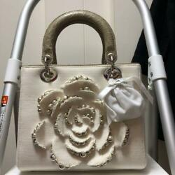 AUTH Christian Dior Lady Dior Rose Design Bag Croco $3,396.73