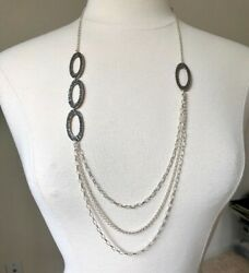 Silpada Hammered Silver And Multi Strand Chain Necklace Retired N1720
