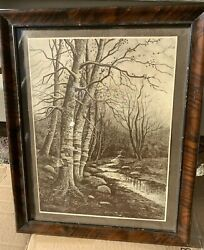 Antique Taber Prang Art Forest/stream Lithograph Copyright 1907 Springfield Ma.
