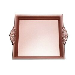 24 Pcs 10x10 Rose Gold Square With Embossed Rim Charger Plates Wedding Party