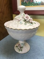 Vintage Lefton China Hand Painted Pink Bisque Porcelain Covered Candy Dish 1037