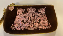 juicy couture purse Quilted Wristlet Brown Pink Gold Trim Velour $12.00