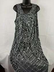 Faded Glory Tank V-Neck Maxi Dress with Cute Woven Straps Womens Size 4X $15.00