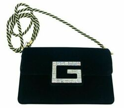 Womens Designer Gucci Black Velvet Broadway Small Crossbody Flap Bag $1,045.49
