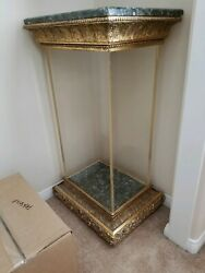 Hall table pedestal stand decor display set marble gilt acrylic light