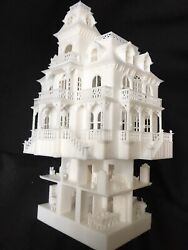 Ho Scale Built White Miniature Victorian Mansion Haunted House Incl Interiors