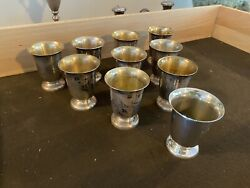 Set Of 11 Concord Sterling Silver Cups - 3andrdquo Height 28ozt