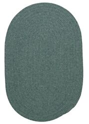 Bristol Heathered Teal Wool Blend Country Farmhouse Oval Round Braided Rug