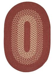 Jackson Rosewood Bordered Wool Blend Country Farmhouse Oval Round Braided Rug
