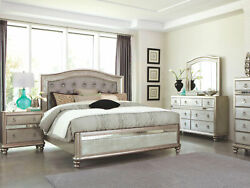 Glamorous Silver Platinum Finish 5 Pieces Bedroom Set Furniture W/ King Bed Ia7l