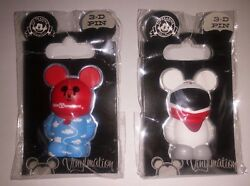 2 Disney Vinylmation 3-d Pins, Monorail Red Mickey Mouse + Wdw Balloon In Clouds