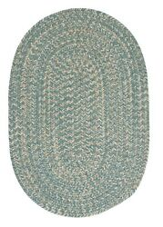 Tremont Teal Tweed Wool Blend Country Farmhouse Oval Round Braided Rug