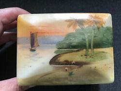 Gorgeous Hand Painted Porcelain Dresser Jewelry Box Palm Trees Beach Ship Sunset