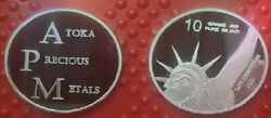Lot Of 5 -10 Gram .999 Pure Silver Rounds - Apm Lady Liberty Coin - W/ Hard Case