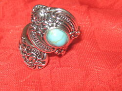 Vintage Antique Style Silver Plated Turquoise Spoon Ring Sizes 6-10 Adjustable