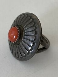 Old Pawn Navajo Sterling Silver Coral Hand Stamped Lee Yazzie Signed Ring Size 5