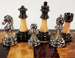 Staunton Chrome And Black Chrome Chess Men Set Weighted Pro Plastic - No Board