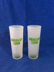 Set Of 2 Absolut Lime Vodka Tall 2oz Shotglass Whiskey Shooter Frosted Glass
