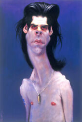 NICK CAVE by SEBASTIAN KRUGER: BRILLIANT (ONE-OF-A-KIND) ORIGINAL ART PAINTING!