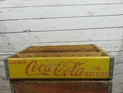 Rare 24 Section Divide Wood Yellow Coca-cola Soda Crate 1965 Drink Coke