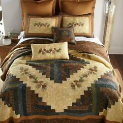 Donna Sharp Cabin Raising Pine Cone Quilted Collection Lodge Rustic Country