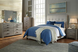 New Modern Gray Wood And Beige Fabric Furniture - 5pcs Queen Panel Bedroom Set A26