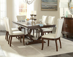 Cherry Brown Finish 7pcs Dining Room Kitchen Rectangular Table And Chair Set Ic5a