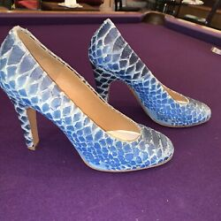 Maison Martin Margiela Shoes Blue Suede Leather Snakeskin 39 Fits 8