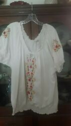 Women's Plus Size 3XL White with Floral Design by Dressbarn $3.00