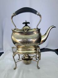 Antique Black Starr And Frost Gorham Sterling Silver Kettle Pot W/stand And Burner