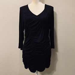 NWT Cable & Gauge Black Knit Ruched Top Women's Size XL $15.99