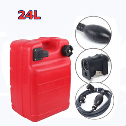6gal Portable Outboard Boat Fuel Gas Tank Marine W/male Connector+fuel Line Us